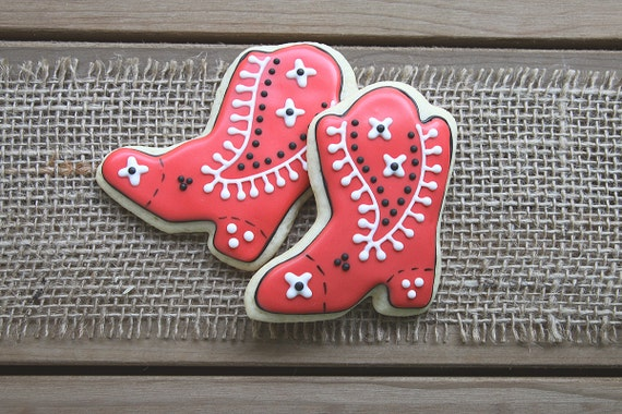 Cowboy Favors / Cowgirl Favors / Cowboy Party Favors / Cowgirl Party Favors / Western Party Favors / Boot Sugar Cookies - 12 cookies