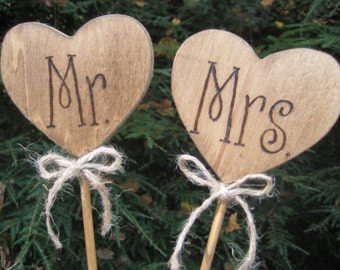 Cake Toppers, Heart Cake Toppers, Wedding Cake Toppers, Heart Cake Toppers, Mr and Mrs Cake Toppers, Woodburned Cake Toppers, Rustic Wedding
