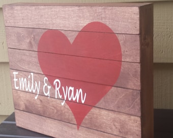 Heart Sign, Wood Slat Sign, Box Sign, Rustic Wedding, Rustic Personalized Sign, Wedding Gift