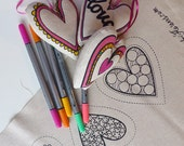 Make Your Own Hearts Kit - fabric markers & screen printed fabric