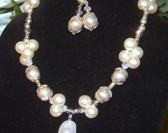 Pearl Crystal Necklace Earrings Set, gift for her, wedding jewelry