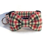 Christmas Dog Bow Tie and Collar Set in Red and Green Check Vintage Wool for Small to Large Dogs