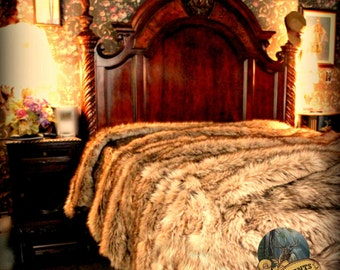 Luxurious Faux Fur Bed Spread - Comforter - Throw Blanket or DUVET - Plush Light Brown Wolf - Coyote Fur - Luxury Shag