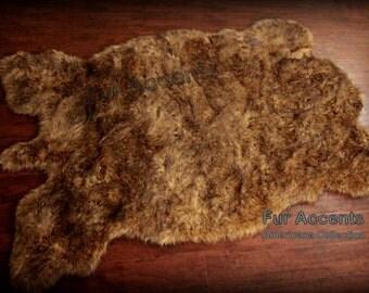 Faux Fur Buffalo Pelt Rug / Golden Brown Plains Buffalo /  Sheepskin Rug / Bear Skin Rug / Two New Sizes