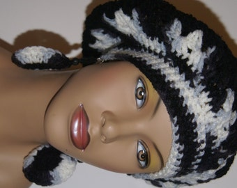Crochet Tam with Matching Earrings - Black White Mix Made To Order