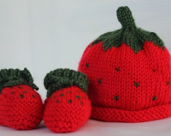 Strawberry - Baby Hat only, or Hat and Booties Set