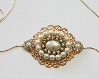 Vintage Golden Sash Bridal Belt Antique Tiny Pearls Victorian Hip Belt Golden Flower Ivory Pearls Wedding Belt Rhinestone Gold Chain