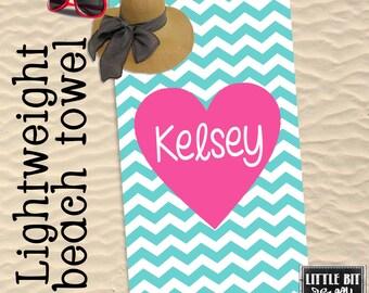 Heart Beach Towel Personalized Chevron Monogram Towel Pink Heart