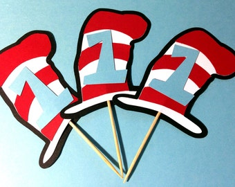 Cat in the Hat Dr. Suess Inspired Cupcake Toppers