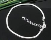 "Snake Chain Bracelet - Silver - 8 1/2""  (22cm) - End Screws Off - Ships IMMEDIATELY  from California - CH366"