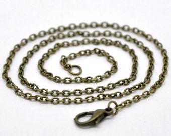 """24 WHOLESALE Necklaces - Antique Bronze - Cable Chains - 2x3mm - 18""""  - Ships IMMEDIATELY  from California - CH406b"""