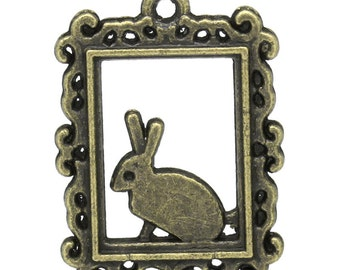 10 Rabbit Charms - Antique Bronze  - 24x18mm  - Ships IMMEDIATELY from California - BC772