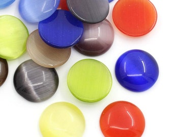 8 Cabochons 16mm - Cats Eye - Glass - Assorted - Ships IMMEDIATELY from California - C266