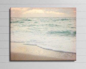 Pink and Mint Canvas Wrap, Ocean Canvas Art, Bathroom Wall Decor, Beach House Art, Seashore Artwork, Large Coastal Cavas