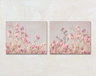 Magnolia Wall Art Set, Pink Print Set, Flower Picture Set, Spring Floral Decor, Bedroom Wall Art, Oversized Artwork Set