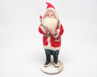 Vintage 1940's 6 Inch SANTA With Hand Painted Celluloid Face,  Holding Feather Tree