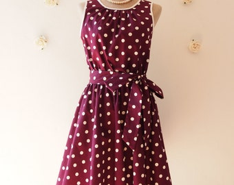 Deep Purple Dress Wine Polka Dot Swing Dress Vintage 50's Inspired Violet Tea Dress Eggplant Bridesmaid Dress Party Dress -XS-XL,Custom