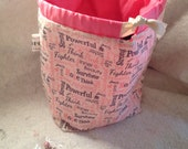 Clearance - Think Pink Sock Sack with Stitch Markers-Ready to Ship