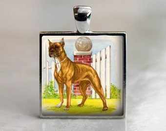 Vintage Boxer Dog Pendant