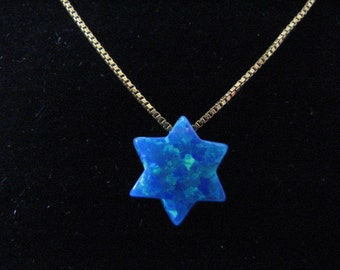 Dark Blue Opal Star of David Necklace Pendant on 14k solid Gold Chain