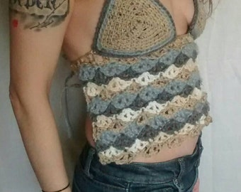 Tan & Gray crocheted halter top, hippie halter, tribal top, festival clothing