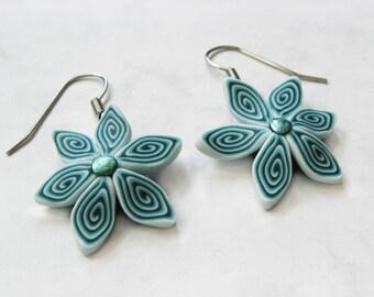 Frozen jewelry, Polymer clay earrings, Winter earrings, Floral earrings, Winter jewelry, Ice jewelry, Flower jewelry, Ice earrings
