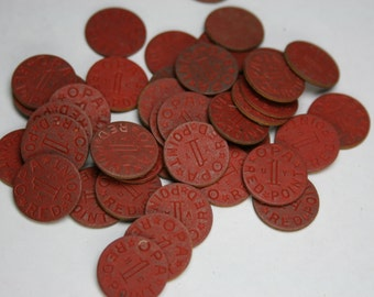 Vintage Lot of OPA Red Tokens - 43 pcs