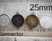 6 - 1 inch Round Pendant connector  Blank Tray Setting  Lead and Nickel Free
