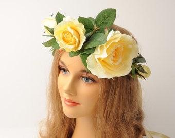 Floral Head Piece, Large Flower Hair Accessory, Woodland Head Wreath, Wedding Headdress, Flower Halo, Boho Hair Piece, Large Flower Crown
