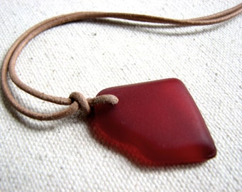 Red Sea Glass Necklace - Mens Necklace, Unisex Jewelry, Sea Glass Leather Necklace, Tied Glass Pendant Necklace