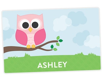 Owl Placemat - Owl Personalized Placemat for Girl - Name Placemat - Custom Placemat - laminated, double-sided