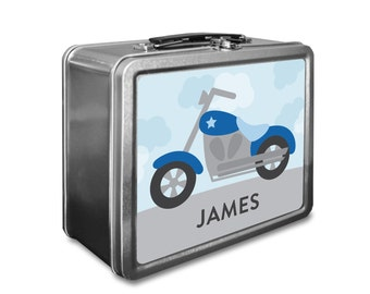 Motorcycle Lunch Box - Personalized Kids Lunch Box - Vintage Metal Lunch Box - Chalkboard Lunchboxes