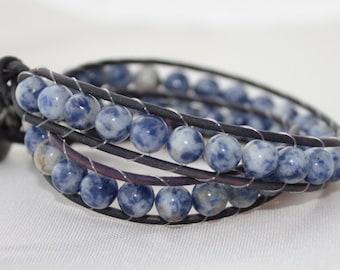 double wrap bracelet - beaded wrap - 2x wrap bracelet - wrapped leather - leather wrap - free shipping