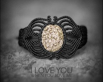 Raw Pyrite Bracelet Macrame