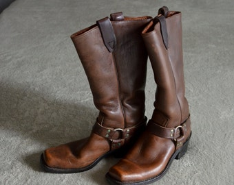 1970s womans SIZE 8 chocolate brown moto western riding boots men size 6 1/2