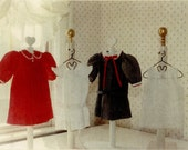 """Doll Patterns / 18"""" Doll / Pleated dresses / Dropped waist Dress / Pinafore / Slip / Patterns for an 18"""" doll by Carol Clements"""
