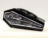 Vintage Nightmare Before Christmas Coffin Tote Jack Skellington Tin Box with Handle Skeleton Halloween Skull Tim Burton Mini Purse Bag