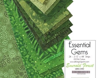 Essential Gems, Emerald Forest by Willington Prints, Pre Cut Strips