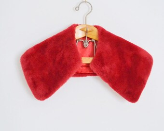 red faux fur collar - holiday attire - stole scarf cape