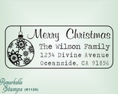 Christmas Address Stamp - Christmas Ornament  - Etsy Design (R1120) - Custom Holiday Stamp