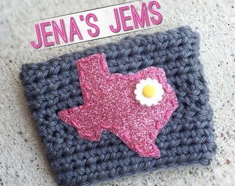 Grey & Pink Glitter Texas Coffee Cup Sleeve