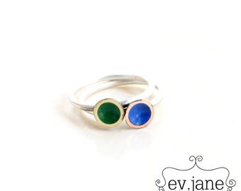 Tiny Blue Green Discs Slim Ring Size 5 Brass Copper Metal Mix Sterling Silver Stacking Soldered Oxidized Boho Hippie by evismetalwork