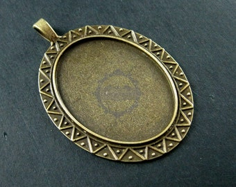 5pcs 30x40mm vintage style antiqued bronze alloy oval pendant charm bezel tray DIY supplies 1421066