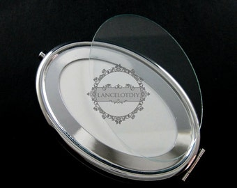 1set 65x95mm setting metal oval blank base bezel vintage style silver compact pocket mirror tray glass cabochon 1993007