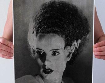 1935 Bride Of FRANKENSTEIN Vintage Distressed Black White Chalkboard Halloween Art Print Poster Wall Decor Gothic 5x7 8x10 A3 +More Sizes