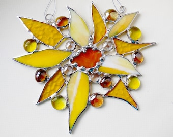 Smiling Yellow Morning Sun, Wall Decor, Stained Glass Suncatcher, Trendy Holiday Gift Made To Order