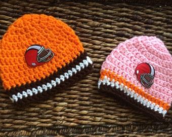 Crochet Cleveland Browns Baby Beanie