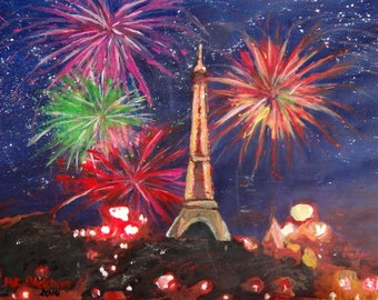 Paris Eiffel Tower City of Love with Silvester New Years Fireworks