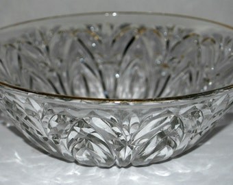 cut glass bowl vintage glass bowl gold rim