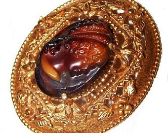 Florenza Cameo Brooch Pin Designer Signed Brown Glass Gibson Girl Gold Metal 2 in Vintage